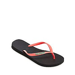 Havaianas - Black and coral flip flops