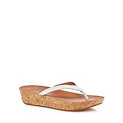 FitFlop - White 'Linny' mid flatform heel flip flops