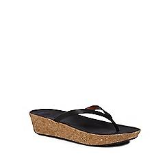 FitFlop - Black 'Linny' mid flatform heel flip flops