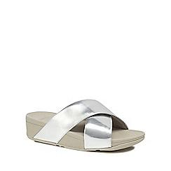 FitFlop - Silver 'Lulu' mid flatform heel flip flops