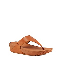 FitFlop - Tan leather 'Lulu' mid flatform heel flip flops