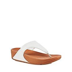 FitFlop - White leather 'Lulu' mid flatform heel flip flops