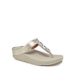FitFlop - Silver leather 'Roka' mid flatform heel flip flops