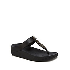 FitFlop - Black leather 'Roka' mid flatform heel flip flops