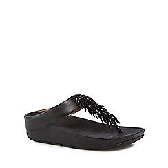 FITFLOP - Black leather 'Rumba' mid flatform heel flip flops