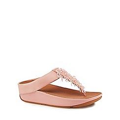 FITFLOP - Pink leather 'Rumba' mid flatform heel flip flops