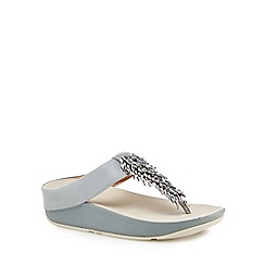 FitFlop - Grey leather 'Rumba' mid flatform heel flip flops