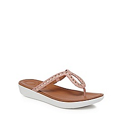 FitFlop - Pink leather 'Strata' flip flops