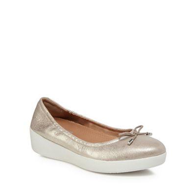 7a83b5bbae69 FitFlop Silver  Superbendy Ballerina  mid flatform heel ballet pumps ...
