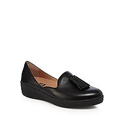 FitFlop - Black leather 'Superskate D'orsay' mid flatform heel loafers
