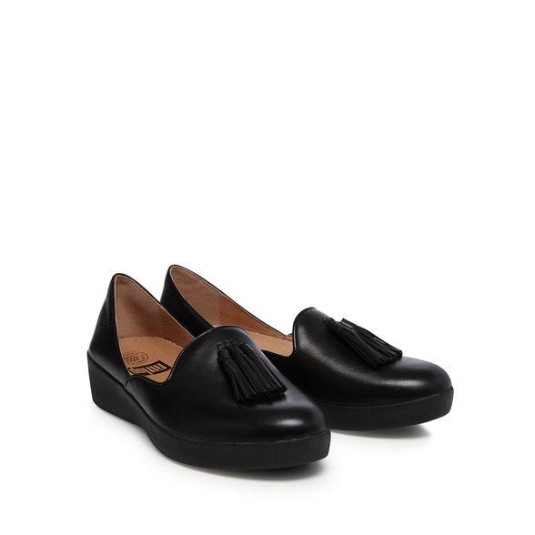 'Superskate leather loafers D'orsay' flatform heel mid Black FitFlop qBw1cnREn