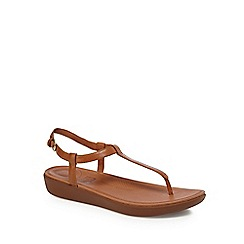FitFlop - Tan leather 'Tia' T-bar sandals