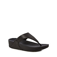 FitFlop - Black leather 'Lulu' mid flatform heel flip flops