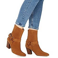 Faith - Tan suede 'Buddy' high block heel ankle boots