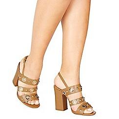 Faith - Tan 'Daniel' high block heel ankle strap sandals