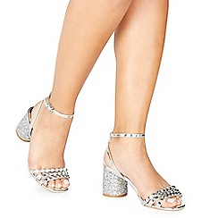 Faith - Silver 'Davood' mid block heel ankle strap sandals