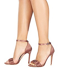 Faith - Pink satin 'Lannister' high stiletto heel ankle strap sandals
