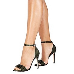 Faith - Khaki satin 'Lannister' high stiletto heel ankle strap sandals