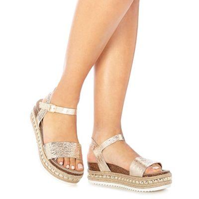 8bdc9c91e474 Faith Gold leather  Jossy  mid flatform heel ankle strap sandals ...