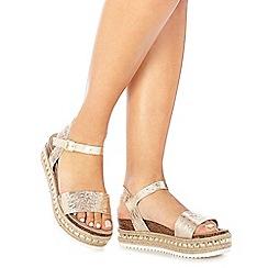Faith - Gold leather 'Jossy' mid flatform heel ankle strap sandals