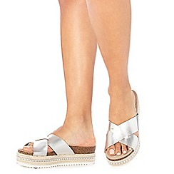 Faith - Silver leather 'Jarb' mid flatform heel sandals