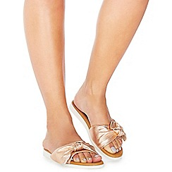 Faith - Rose gold leather 'Jancy' sliders
