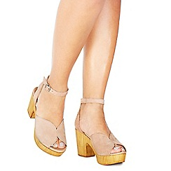 Faith - Pink suede 'Demo' high platform heel ankle strap sandals