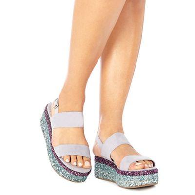 Faith - Lilac suedette glitter 'Jitter' mid flatform heel ankle strap sandals