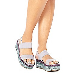 Faith - Lilac suedette glitter 'Jitter' mid flatform heel ankle strap sandals