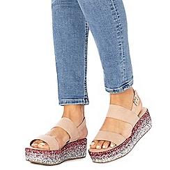 Faith - Pink suedette glitter 'Jitter' mid flatform heel ankle strap sandals