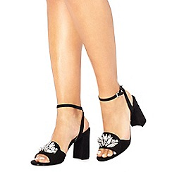 Faith - Black suedette 'Dec' high block heel ankle strap sandals