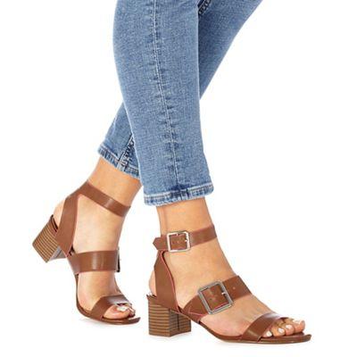 Faith - Tan 'Dustin' mid block heel ankle strap sandals