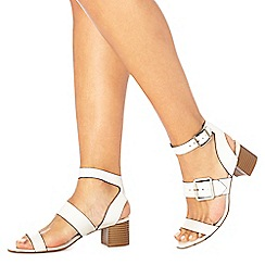 Faith - White 'Dustin' mid block heel ankle strap sandals