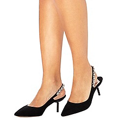 Faith - Black suedette 'Ceven' mid kitten heel slingbacks
