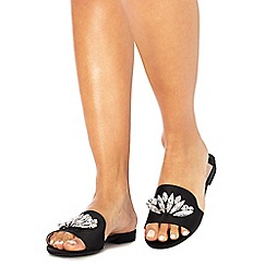 Faith - Black satin 'Jungle' sandals