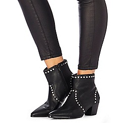 Faith - Black studded 'Bud' mid block heel ankle boots