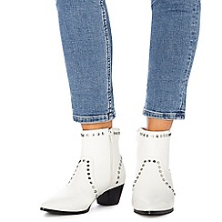 Faith - White studded 'Bud' mid block heel ankle boots