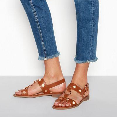 6eeedbe205a24 Faith - Tan studded slingback gladiator sandals