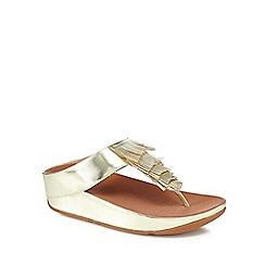 FITFLOP - Gold 'Cha Cha' mid flatform heel flip flops