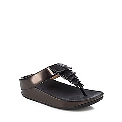 FitFlop - Black 'Cha Cha' mid flatform heel flip flops
