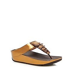 FITFLOP - Bronze 'Cha Cha' fringe mid flatform heel flip flops