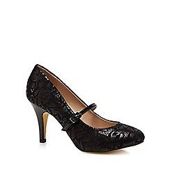 Lotus - Black floral 'Fuzina' high stiletto heel court shoes