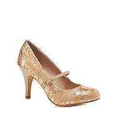 Lotus - Gold lace 'Fuzina' high stiletto heel mary janes