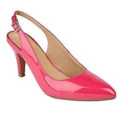 Lotus - Bright pink patent 'Nadia' mid heel slingbacks