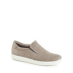 ECCO - Taupe suede 'Soft 1' slip-on trainers
