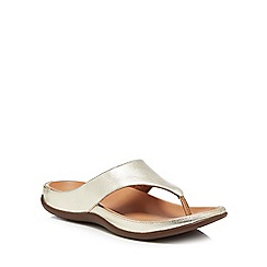 Strive - Light gold leather 'Maui' flip flops