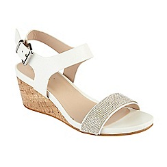 Lotus - White 'Ace' mid wedge heel sandals
