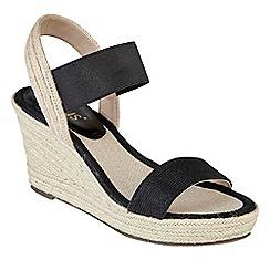 Lotus - Black 'Adita' high wedge heel peep toe sandals