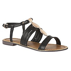Lotus - Black 'Alpine' T-bar sandals