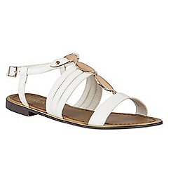 Lotus - White 'Alpine' T-bar sandals